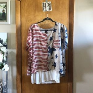 Multiples Stars and Stripes Top Size 1X